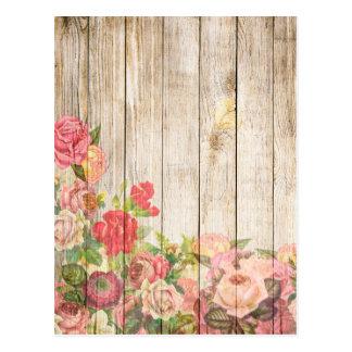 Postal Rosas románticos rústicos del vintage de madera