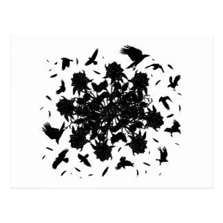 Postal Rosas y cuervos negros