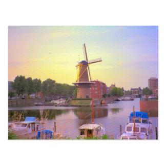 Postal Rotterdam, naves históricas, molino de viento de