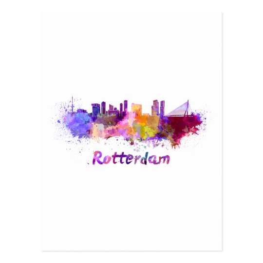 Postal Rotterdam skyline in watercolor