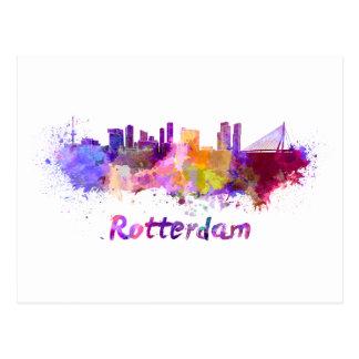 Postal Rotterdam skyline in watercolor