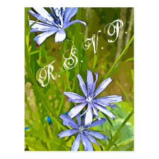 Postal RSVP con la lavanda - flores púrpuras