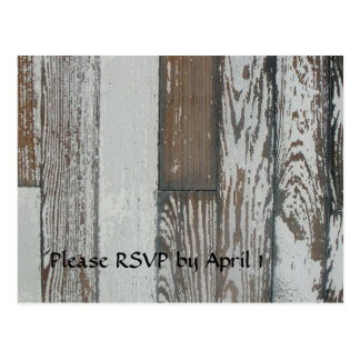 Postal RSVP de madera viejo