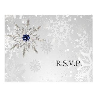 Postal rsvp de plata del boda del invierno de los copos
