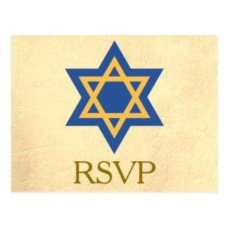 Postal RSVP judío de oro