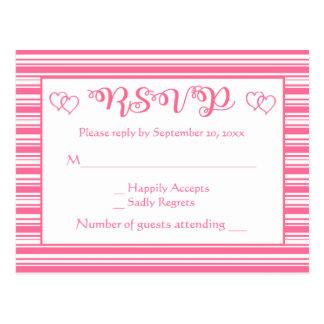 Postal RSVP rosado y el blanco raya al banquete de boda