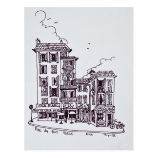 Postal Rue du Vieux Port en Niza el | viejo Niza, Francia
