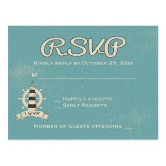 Postal Rueda azul náutica de la nave del faro de la
