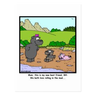 Postal Rueda en el fango: Dibujo animado del cerdo y del
