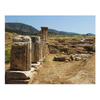 Postal Ruinas romanas en Hierapolis Pamukkale Turquía