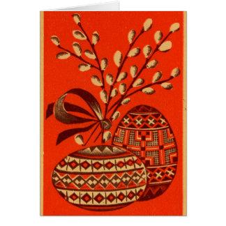 Postal rusa vieja de Pascua del vintage del rojo y Tarjeta De Felicitación