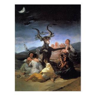 Postal Sabat de las brujas de Francisco Goya-