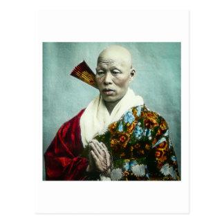 Postal Sacerdote sintoísta japonés del vintage que ruega
