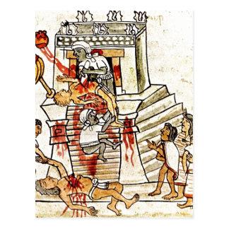 Postal Sacrificio humano ritual azteca de la descripción