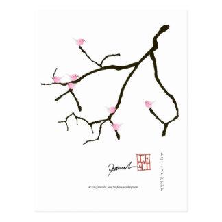 Postal Sakura y 7 pájaros rosados 2, fernandes tony