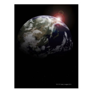 Postal Salida del sol del espacio