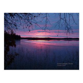 Postal Salida del sol en Laponia