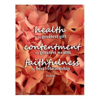 Postal Salud, alegría y fidelidad, cita de Buda
