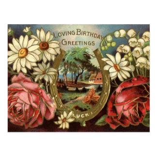 Postal Saludo del cumpleaños con los rosas