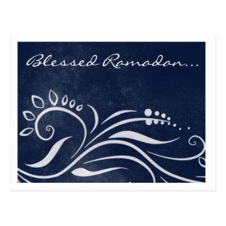 Postal Saludo islámico adornado azul bendecido del