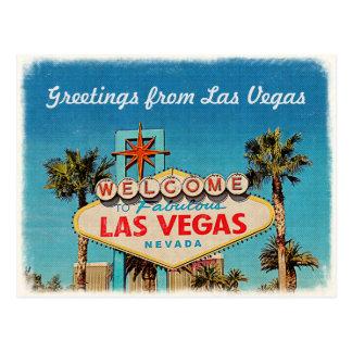 Postal Saludo retro del vintage de Las Vegas fabuloso