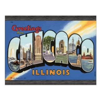 Postal Saludos de Chicago Illinois, vintage