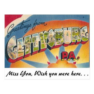 Postal Saludos de Gettysburg, Pennsylvania