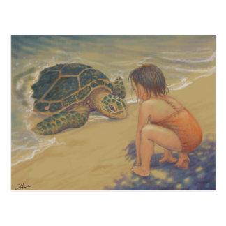 Postal Saludos de Honu (tortuga de mar verde)