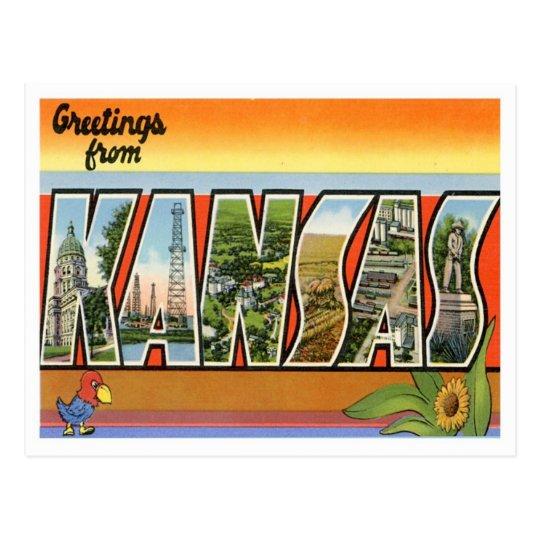 Postal Saludos de Kansas de estados de los E.E.U.U.