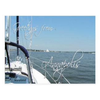 Postal Saludos de la bahía de Chesapeake del velero de