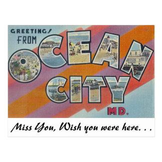 Postal Saludos de la ciudad del océano, Maryland