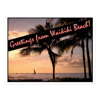 Postal ¡Saludos de la playa de Waikiki!