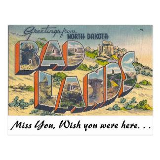 Postal Saludos de las malas tierras, Dakota del Norte
