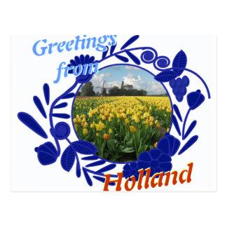 Postal Saludos de los tulipanes del modelo de Delftware