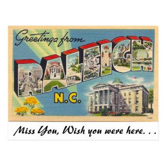 Postal Saludos de Raleigh, Carolina del Norte