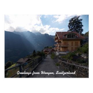 Postal Saludos de Wengen Suiza 1
