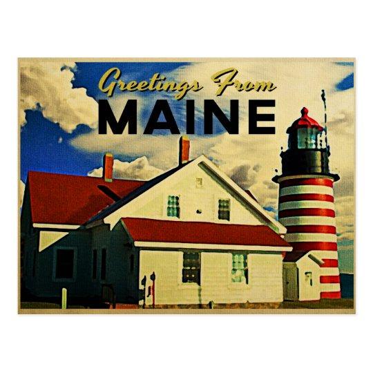 Postal Saludos del faro de Maine