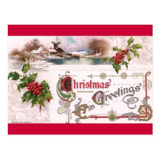 Postal Saludos del navidad de Nouveau del arte con acebo