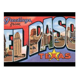Postal Saludos del poster del viaje de El Paso