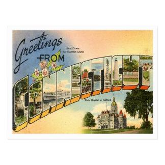 Postal Saludos del vintage de Connecticut