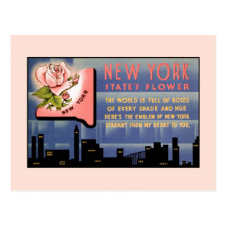 Postal Saludos del vintage de la flor de Estado de Nuevo