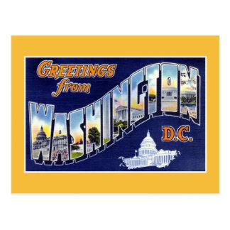 Postal Saludos del vintage del Washington DC