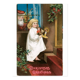 Postal Saludos pasados de moda del navidad