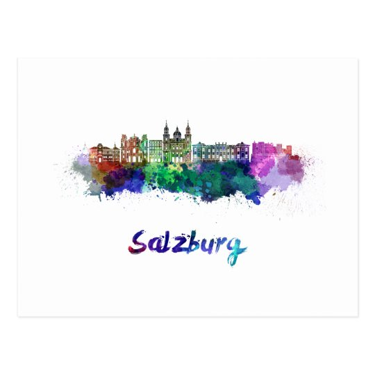 Postal Salzburg skyline in watercolor