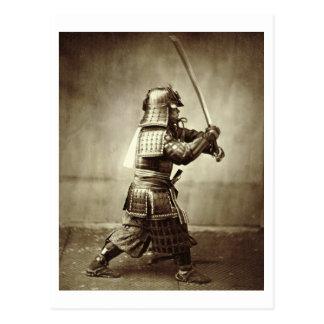 Postal Samurai con la espada aumentada, c.1860 (impresión