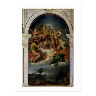 Postal San Nicolás en gloria con los santos