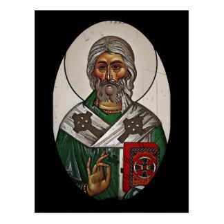 Postal San Patricio con escritura santa