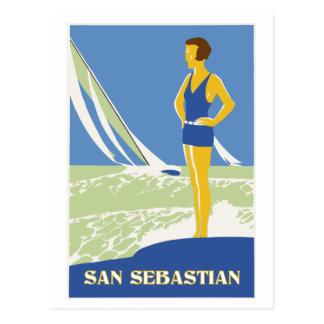 Postal San Sebastián, viaje retro del arte del vector