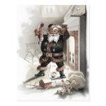 Postal Santa Cómica de época frente a la chimenea ca1875