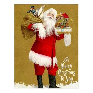 Postal Santa con los regalos